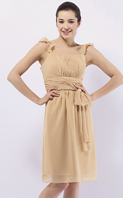Sheath/ Column Straps Knee-length Chiffon Over Elastic Satin Bridesmaid/ Wedding Party Dress