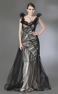 Tulle Charmeuse Trumpet/ Column Scoop Evening Dress inspired by Andrea Osvart