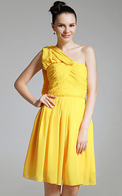 Chiffon Sheath/ Column One Shoulder Knee-length Bridesmaid/ Cocktail Dress