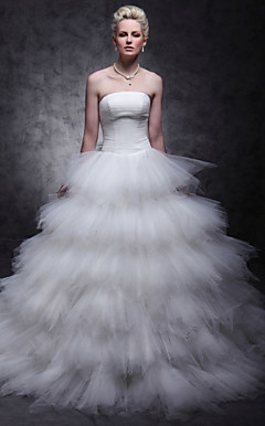 Tulle Over Satin Ball Gown Sweep/Brush Train Tiered Wedding Dress inspired by Mandy Moore in License to Wed
