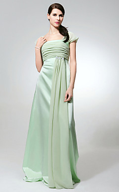 Sheath/ Column Square Floor-length Chiffon Satin Bridesmaid Dress