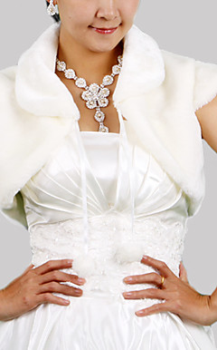 Short Sleeves Faux Fur Bridal Wedding Jacket/ Wrap