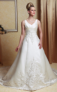 A-line V-neck Chapel Train Satin Beading Wedding Dress