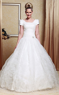 Ball Gown Scoop Organza Satin Floor-length Wedding Dress