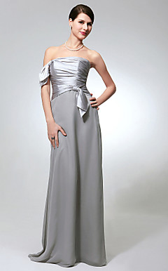 Sheath/Column Strapless Floor-length Chiffon Charmeuse Bridesmaid Dress