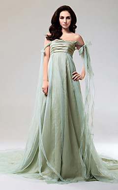 Taffeta And Organza A-line Strapless Court Train Evening Dress inspired by Taylor Swift