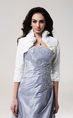 Beautiful 3/ 4-Length Sleeves Taffeta Bridal Jacket/ Wedding Wrap