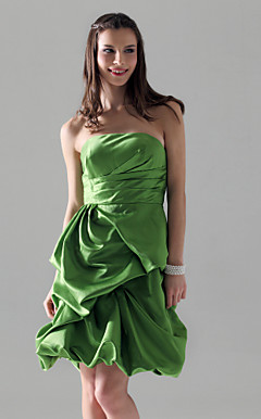 A-line Strapless Knee-length Satin Bridesmaid/Cocktail Dress