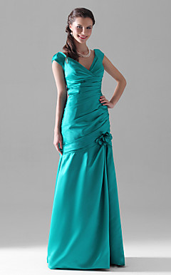 Trumpet/Mermaid V-neck Floor-length Satin Bridesmaid Dress