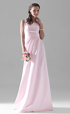 A-line Scoop Floor-length Satin Bridesmaid/Wedding Party Dress