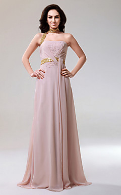 Chiffon Column Halter Sweep Train Evening Dress inspired by Salma Hayek at Cannes Film Festival