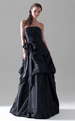 A-line Strapless Floor-length Taffeta Bridesmaid/ Wedding Party Dress With Pick-Up Skirt