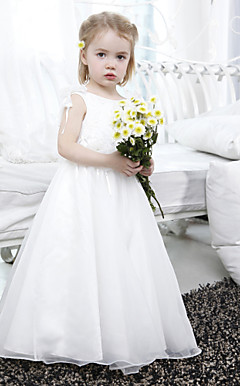A-line Bateau Floor-length Organza Satin Flower Girl Dress