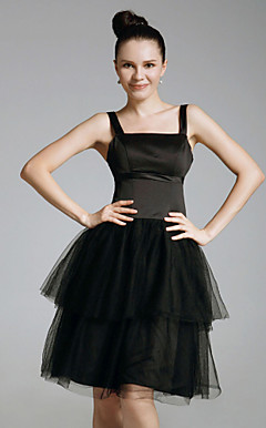 Organza Ball Gown Square Neckline Knee-length Cocktail Dress