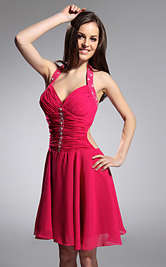 A-line Halter Knee-length Chiffon Over Matte Satin Cocktail Dress