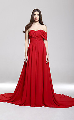 Chiffon A-line Off-the-shoulder Court Train Evening Dress inspired by Camilla Belle