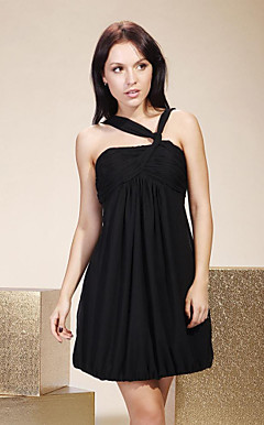 Sheath/Column V-neck Short/Mini Chiffon Cocktail/Little Black/Homecoming Dress
