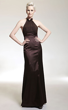 Trumpet/ Mermaid Halter Floor-length Stretch Satin/ Chiffon Evening Dress