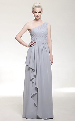 Chiffon Sheath/Column One Shoulder Floor-length Evening Dress inspired by Odette Yustman at Golden Globe Award