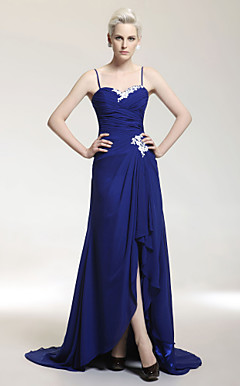A-line Sweetheart Court Train Chiffon Evening Dress