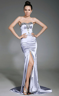 Stretch Satin Sheath/Column Sweetheart Sweep/Brush Train Evening Dress Inspired By Blake Lively