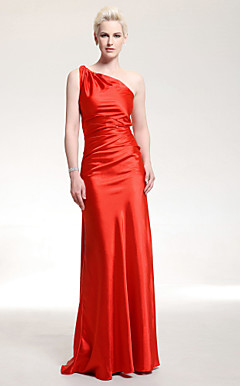 Stretch Satin Sheath/ Column One Shoulder Floor-length Evening Dress inspired by Halle Berry