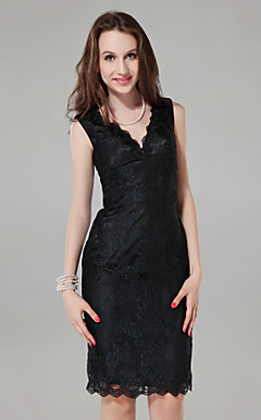 Sheath/ Column V-neck Knee-length Lace Cocktail Dress
