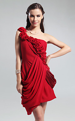 Sheath/ Column One Shoulder Short/ Mini Side-Draped Chiffon Cocktail Dress