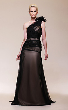 Chiffon Satin A-line  One Shoulder Sweep/ Brush Train Evening Dress inspired by Halle Berry