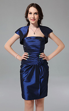 Sheath/ Column Strapless Knee-length Taffeta Bridesmaid Dress with a Wrap