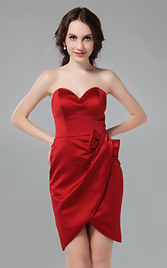 Sheath/Column Sweetheart Short/Mini Satin Bridesmaid Dress
