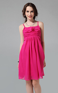 A-line Spaghetti Straps Square Knee-length Chiffon Bridesmaid Dress