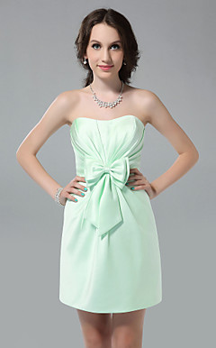 Sheath/ Column Sweetheart Short/ Mini Side-Draped Satin Bridesmaid Dress
