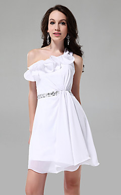 A-line One Shoulder Sleeveless Short/Mini Chiffon Cocktail Dress