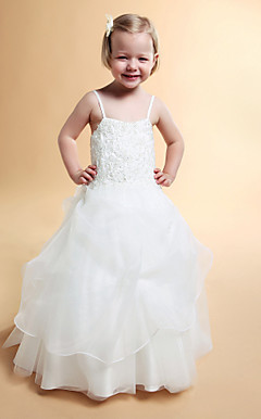 A-line Spaghetti Straps Floor-length Satin Tulle Flower Girl Dress
