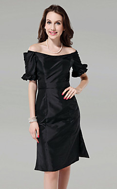 Sheath/Column Off-the-shoulder Knee-length Taffeta Bridesmaid/Cocktail Dress
