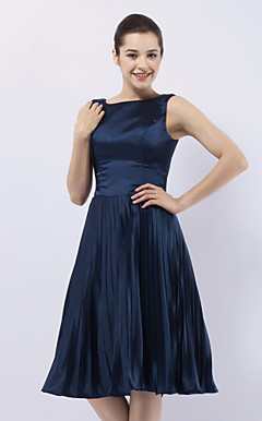 Stretch Satin A-line Bateau Knee-length Evening Dress inspired by Sex and the City