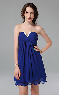 A-line Strapless Short/Mini Chiffon Cocktail Dress
