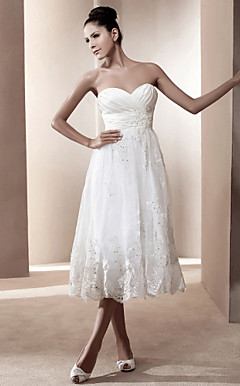 A-line Sweetheart Tea-length Satin Wedding Dress