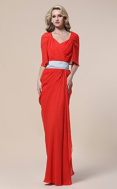 Chiffon Sheath/ Column V-neck Floor-length Evening Dress inspired by Beau Garrett