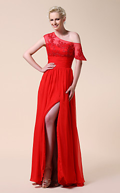 Chiffon Sheath/ Column One Shoulder Floor-length Evening Dress inspired by Carrie Underwood