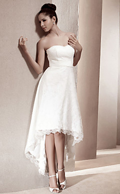 A-line Sweetheart Asymmetrical Lace Wedding Dress
