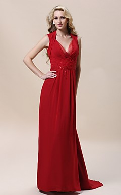 Chiffon Sheath/ Column V-neck Sweep/ Brush Train Evening Dress inspried by Evan Rachel Wood