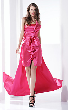 Sheath/ Column One Shoulder Court Train Stretch Satin Evening Dress