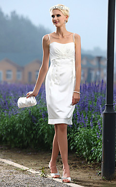 Sheath/Column Spaghetti Straps Knee-length Satin Wedding Dress