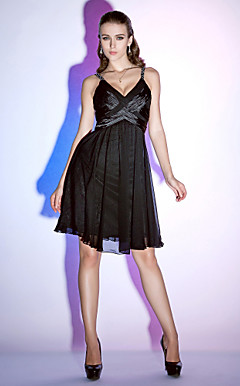 A-line Spaghetti Straps Knee-length Chiffon Stretch Satin Cocktail Dress