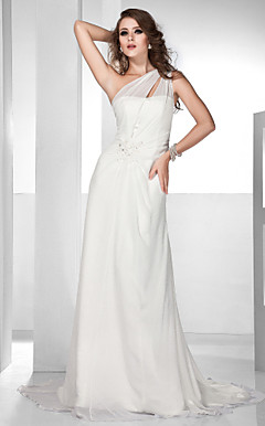 A-line One Shoulder Court Train Chiffon  Evening Dress With Appliques