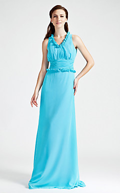 Sheath/Column V-neck Sleeveless Floor-length Chiffon Bridesmaid Dress