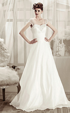 A-line Straps Sweep/ Brush Train Organza Wedding Dress