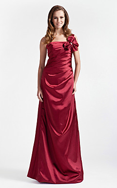 A-line One Shoulder Floor-length Stretch Satin Bridesmaid Dress